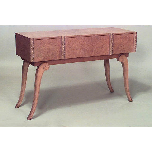 1940s English Art Deco Parcel Gilt Maple Console Table For Sale - Image 5 of 5