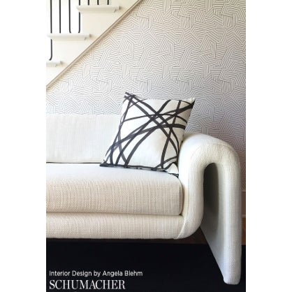 Schumacher Schumacher Deconstructed Stripe Geometric Wallpaper in Black - 2-Roll Set (9 Yards) For Sale - Image 4 of 7