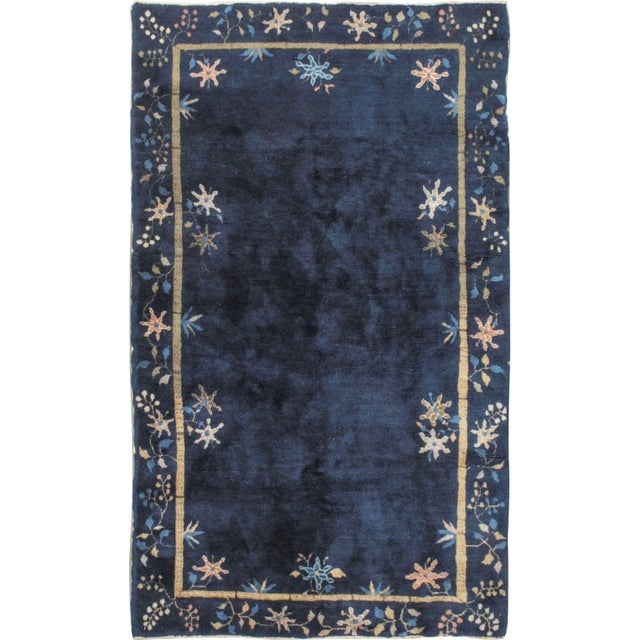 Art Deco Vintage Chinese Navy Rug Circa 1920 4' X 6'7 For Sale In New York - Image 6 of 6