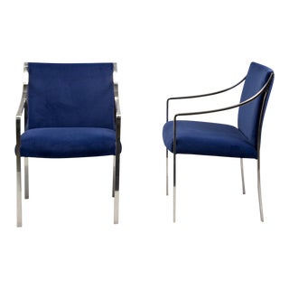 Bert England for Stow Davis Mid-Century Steel Frame & Velvet Arm Chairs - A Pair For Sale
