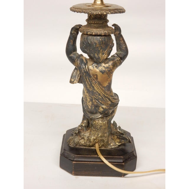 19th C. French Brass Putti Figure Candlestick Lamp For Sale - Image 4 of 6