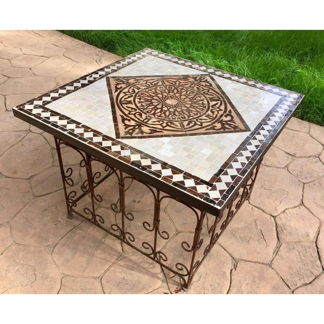 Moroccan Square Brown and Grey Mosaic Tile Coffee Table on Iron Base For Sale - Image 12 of 12