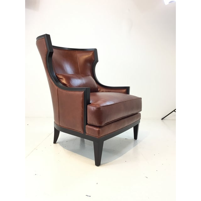 Transitional Thomasville Burnt Sienna Leather Capricorn Club Chair For Sale In Atlanta - Image 6 of 6