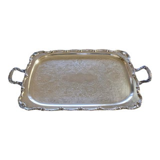 Large Antique Silver Plate Footed Serving Tray With Handles For Sale