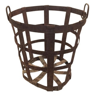 Antique Large Primitive Metal Basket