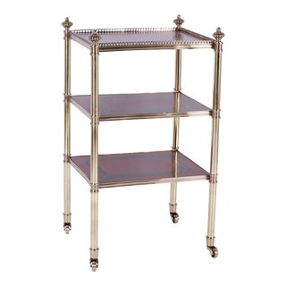 Three-Tiered Brass and Leather British Colonial Style Serving Cart For Sale