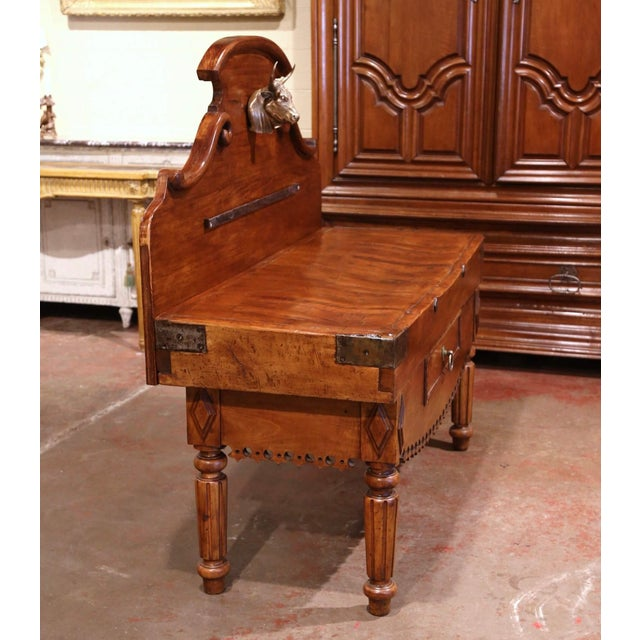 19th Century French Carved Butcher Block With Back and Bronze Cow Head For Sale - Image 10 of 13