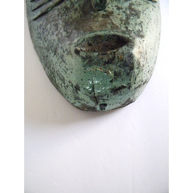 Teal Vintage African Solid Wood Stained Teal and Gray Mask For Sale - Image 8 of 10