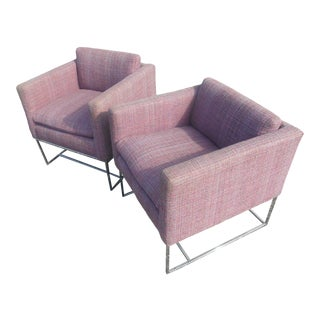 Vintage Mid-Century Cube Chairs Designed by Milo Baughman - a Pair For Sale