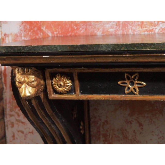 Antique French Painted and Gold Leaf Console in Neoclassic Style, circa 1860 For Sale - Image 4 of 5