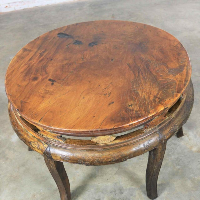Late 19th Century Antique Chinese Round Center Table Hand Carved Elm For Sale - Image 5 of 13