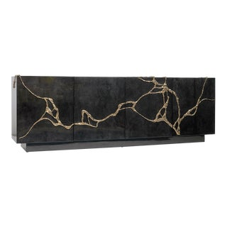Akar 4-Door Credenza in Charcoal Parchment & Lava Brass by Sylvan Sf For Sale