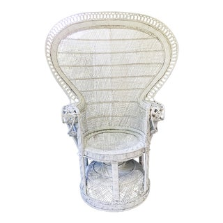 Vintage White Peacock Chair For Sale