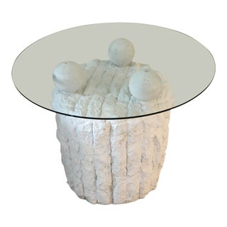 Sculpted Plaster and Glass Side Table For Sale