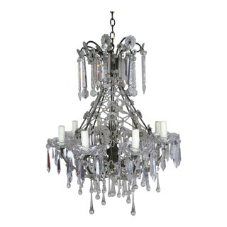 French Louis XV Style Crystal Chandelier, Circa 1940s For Sale