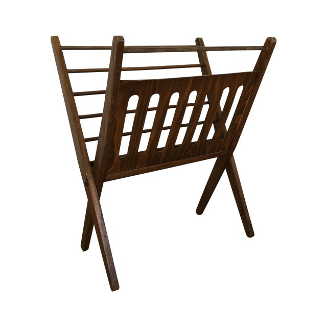 Vintage Wooden Folding Magazine Rack For Sale