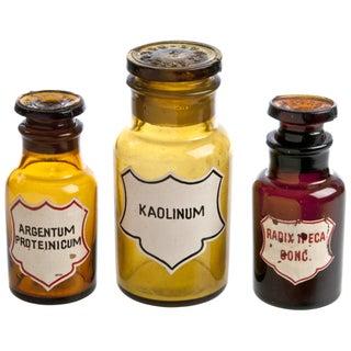 Three Antique Romanian Apothecary Bottles
