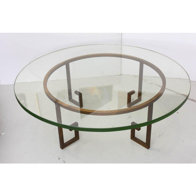 French Modern Gilt Iron and Glass Low Table, Style of Jean Royère For Sale In Miami - Image 6 of 9