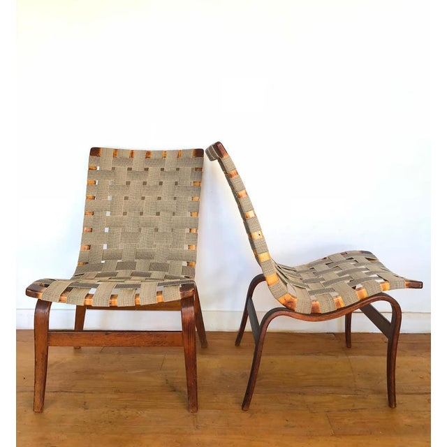 Mid-Century Modern 1940s Scandinavian Modern Bruno Mathsson for Karl Mathsson Eva Chairs - a Pair For Sale - Image 3 of 9
