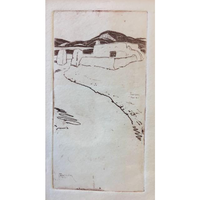 Drypoint etching of an adobe house in Taos, New Mexico, by Ralph Mosher Pearson. This small print is painterly and quite...