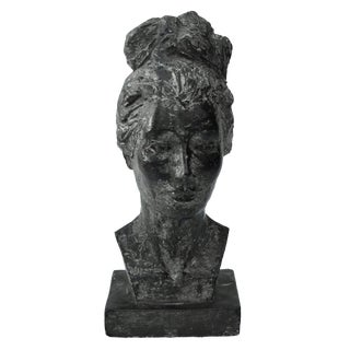 Mid Century Plaster Portrait Bust of Handsome Young Woman For Sale