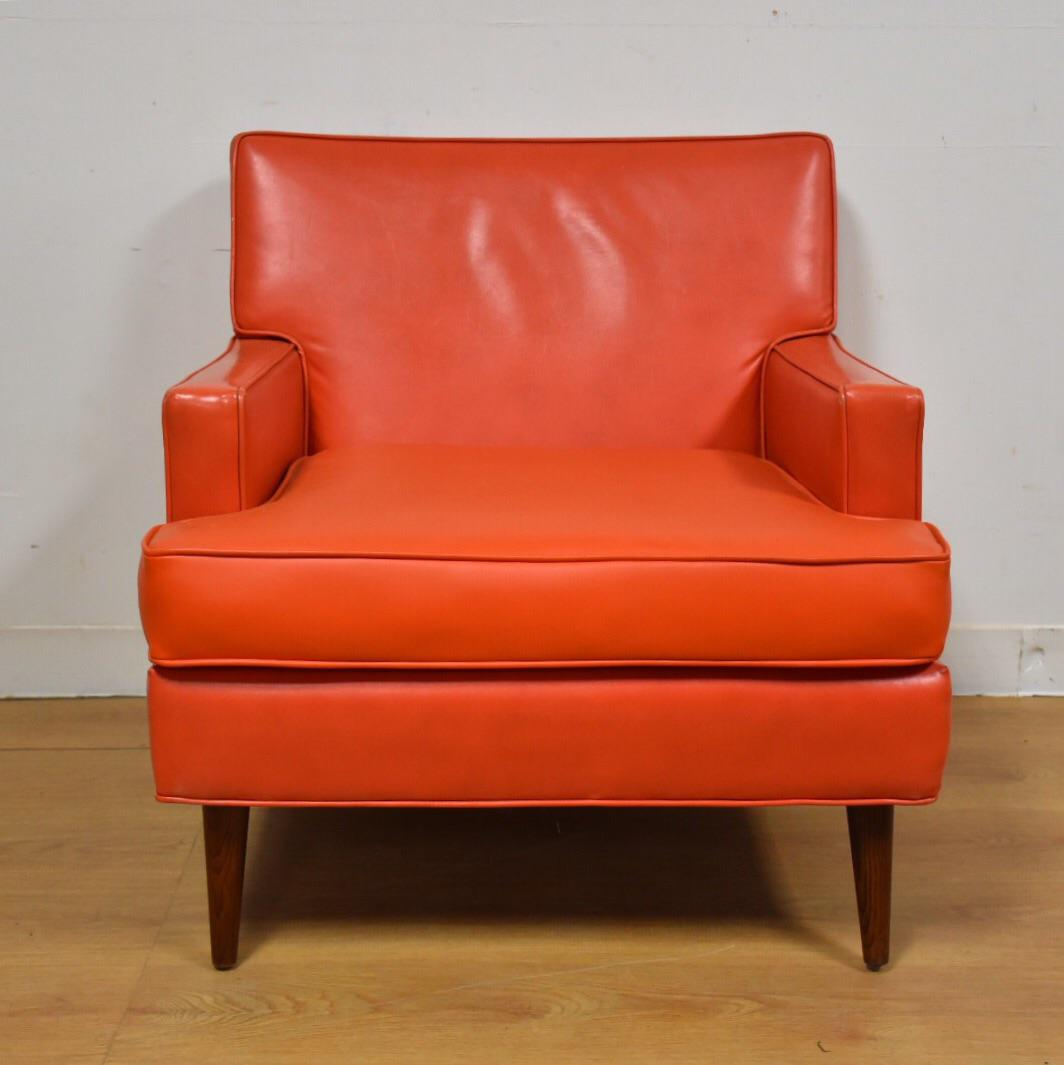 Mid Century Modern Orange Vinyl Lounge Chair   Image 3 Of 11