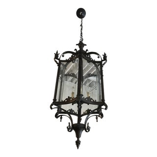 Large Oil Rubbed Bronze and Glass Restoration Hardware Lantern For Sale