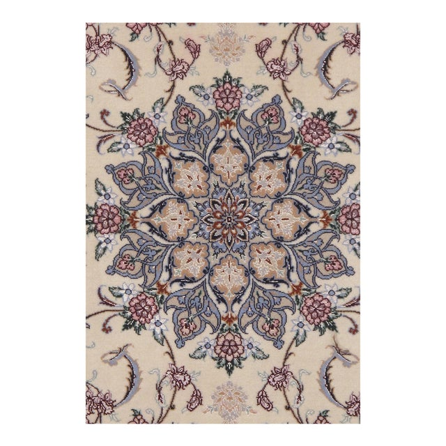 """Islamic Persian Pasargad Ivory Isfahan Silk Wool Rug - 3'7"""" X 5'3"""" For Sale - Image 3 of 4"""