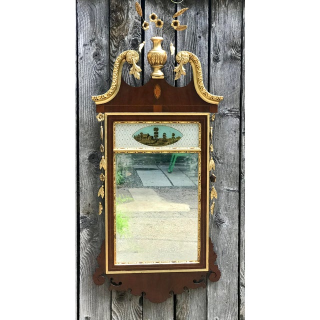 Brown 20th Century Chippendale Style Mahogany Mirror With Gilt Inlaid and Eglomise Panel For Sale - Image 8 of 8