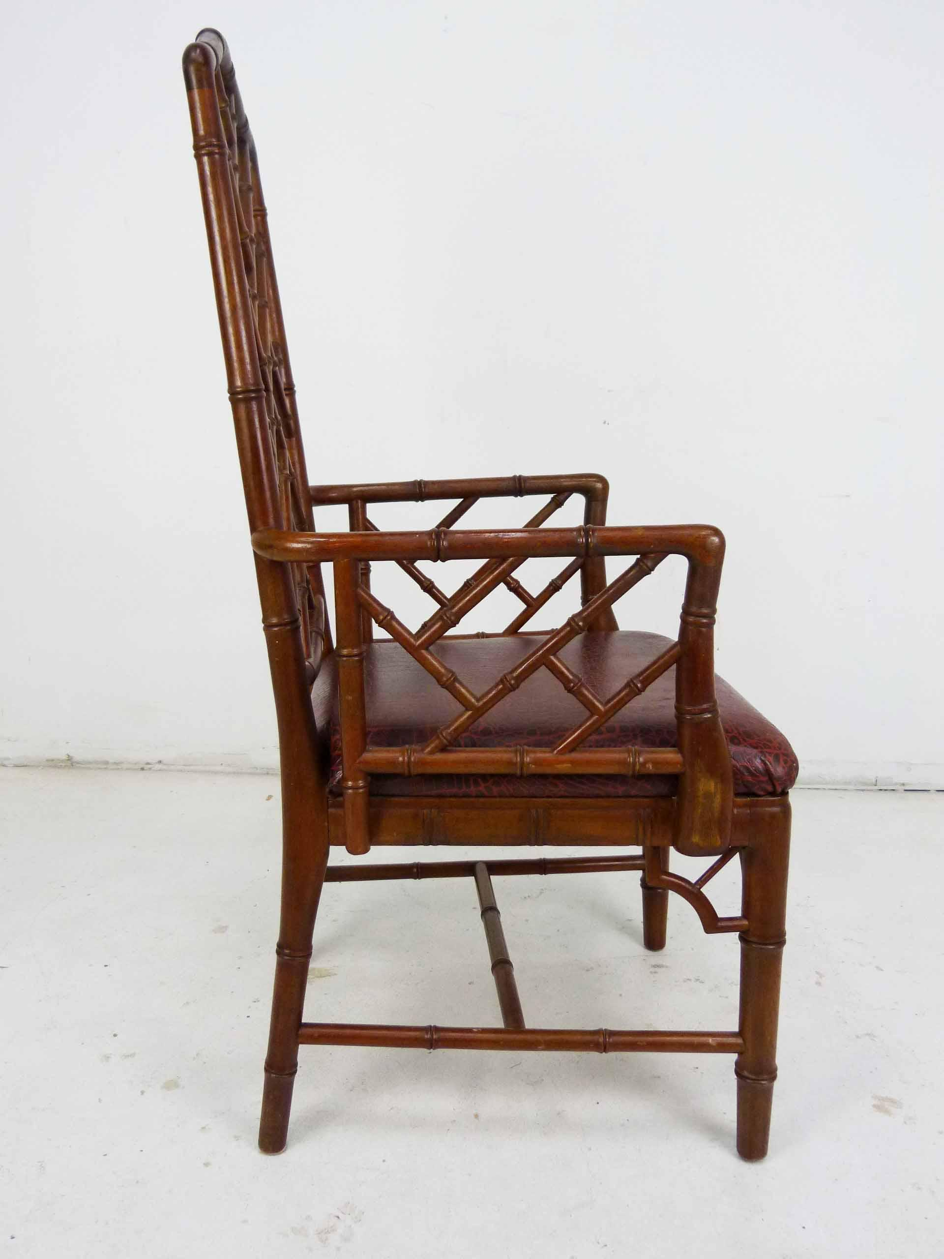 Marvelous Old Chinese Chippendale Bamboo Arm Chair   Image 5 Of 10