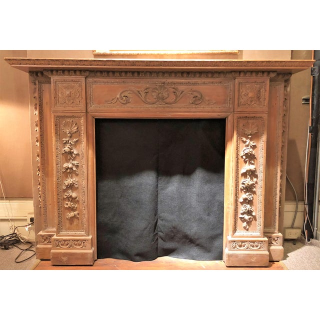 Antique English 19th Century Carved Wood Mantel with Carving in the Manner of Grinling Gibbons. For Sale - Image 4 of 4