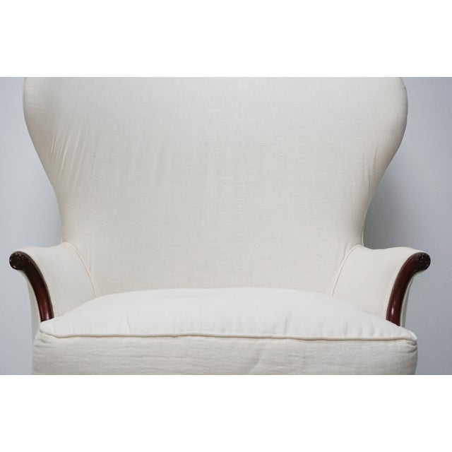 Antique White Wingback Chair - Image 4 of 5