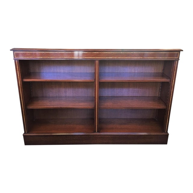 English Custom Double Mahogany Low Bookcase For Sale