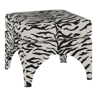 Ottoman, Linen Zebra Cream Black For Sale