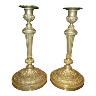 Brass Candle Holders, Pair For Sale