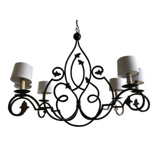 Currey & Company Hand Forged Iron Kitchen Island or Billiards Table Light Fixture For Sale