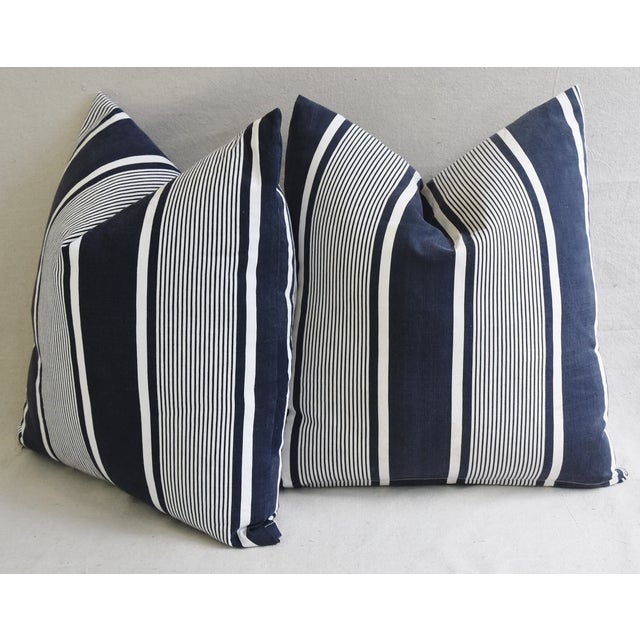"""Custom French Stripe Ticking Fabric Feather & Down Pillows 22"""" X 21"""" - a Pair - Image 9 of 11"""