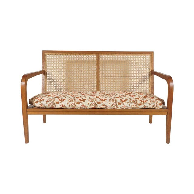 Mid-Century Modern 1940s French 'Art Moderne' Wood Frame & Cane Settee Loveseat with Horsehair Cushions Manner of Corbusier/ Jeanneret For Sale - Image 3 of 12