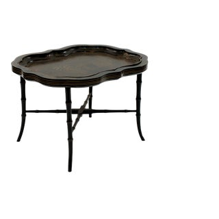 19th Century English Victorian Black Lacquer Papier Mache Shaped Tray Top Table For Sale