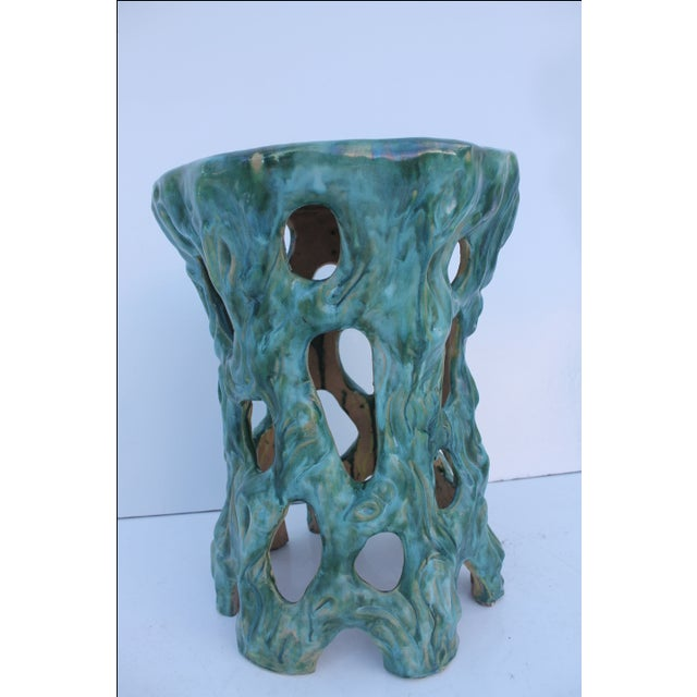 Vintage Textural Turquoise Garden Stool - Image 4 of 8