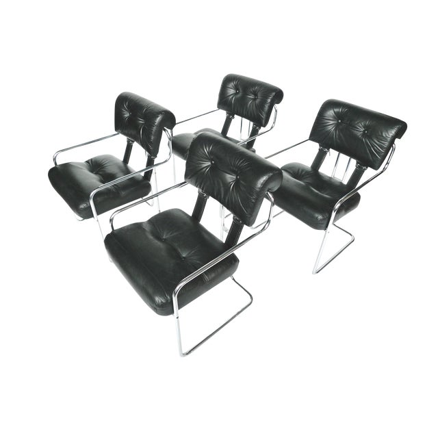 Tucroma Black Leather & Chrome Dining Chairs - Set of 4 - Image 1 of 10