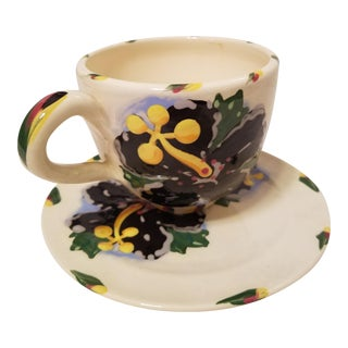 Hand Painted Folk Art Style Cup and Saucer For Sale