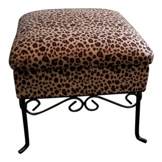 Leopard Print and Wrought Iron Storage Footstool