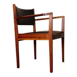Restored Mid Century Modern Jens Risom Solid Black Walnut Armchair