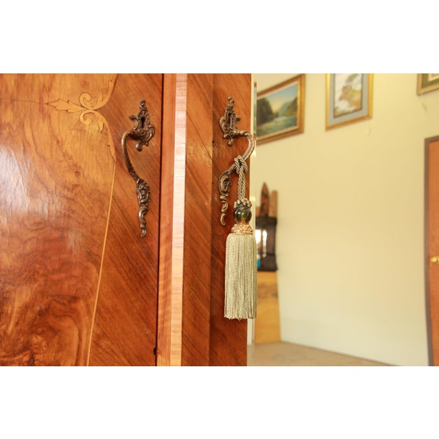 1870's Burled and Inlaid French Knockdown Wardrobe For Sale - Image 9 of 13
