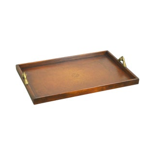 Maitland Smith Leather Serving Tray W/ Brass Handles For Sale