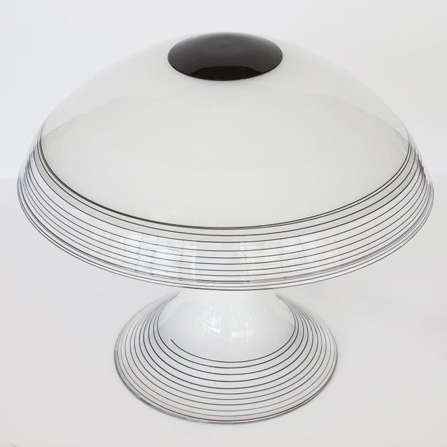 Italian Black and White Murano Swirl Glass Table Lamp - Image 4 of 10