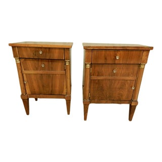 Pair of French Empire Walnut Bedside Cabinets For Sale