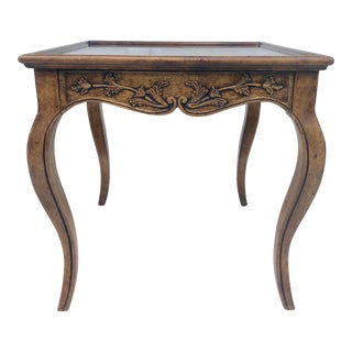 20th Century Queen Anne Carved Wood Table With Drawer For Sale