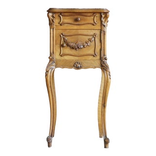 Antique French Rococo Louis XV Marble Top Nightstand For Sale